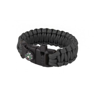 BRACCIALETTO PARACORD SURVIVAL CON BUSSOLA BLACK