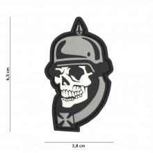 Patch 3D PVC WW I skull grey